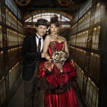 Custom Colours Steampunk Wedding Dress, Sample Size 8