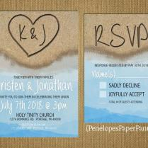 Destination Beach Wedding Invitation,heart In The Sand With