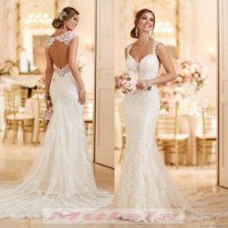 Vintage Lace Mermaid Wedding Dress 2018 Sexy Open Backless Long