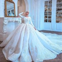 Discount Gorgeous Amazing Long Train Wedding Dresses Long Sleeve