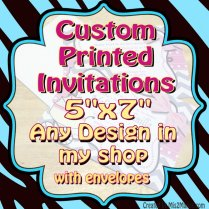 Custom Printed Invitations 10 Laser Printed 5x7 Invitations