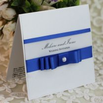 Pretty Layered Royal Blue Stain Ribbon Wedding Invitation With