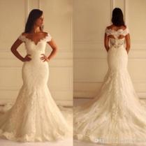 Geogrous Vintage Lace Mermaid Wedding Dresses V Neck Off The