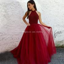 Stunning Dark Red Tulle Prom Dresses Halter Beaded Ribbon Floor