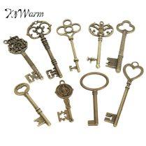 Kiwarm Retro 9pcs Antique Vintage Skeleton Keys Bronze Charm