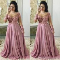 2018 Elegant Fuchsia Mother Of The Bride Dresses Sheer Neck Long