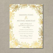 Gold Foil Stamped Garden Whimsy Invitation Sample