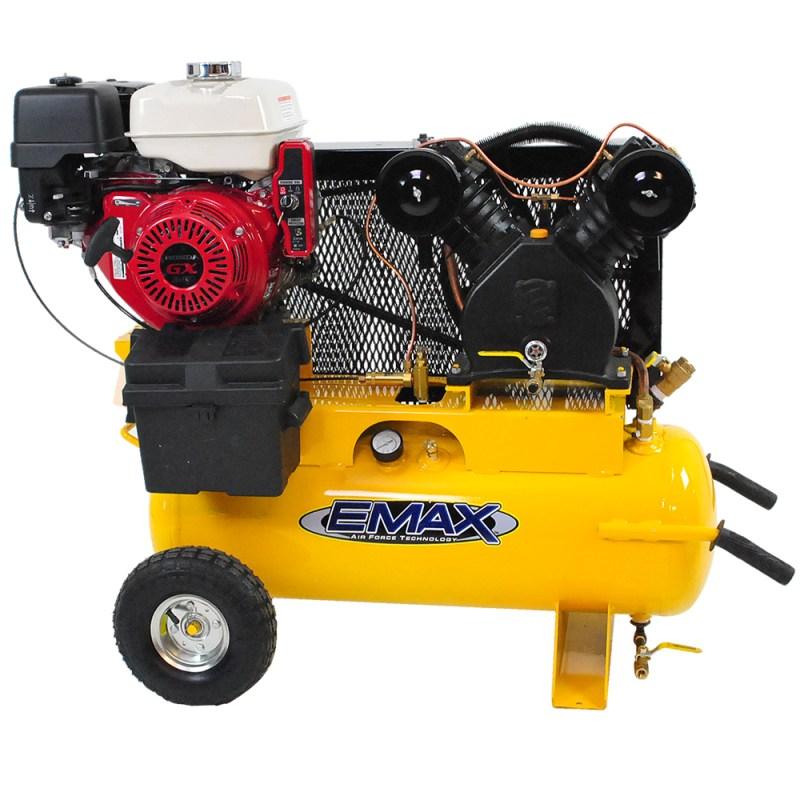 Emax industrial 8hp honda electric 17 gallon with wheels for Honda air compressor motor parts