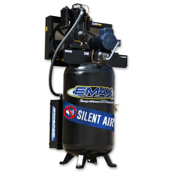 Emax Industrial 5hp 2 Stage 1 Phase 80 Gallon Vertical Silent Air System