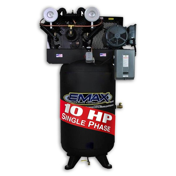 Emax Industrial 10hp 2 Stage Single Phase V4 80 Gallon Vertical