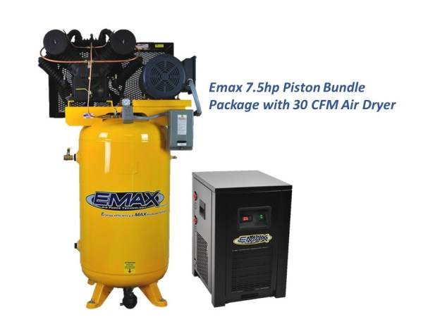 Emax 7.5hp 80 Gal 2 Stage 3 Phase Compressor with Air Dryer Bundle