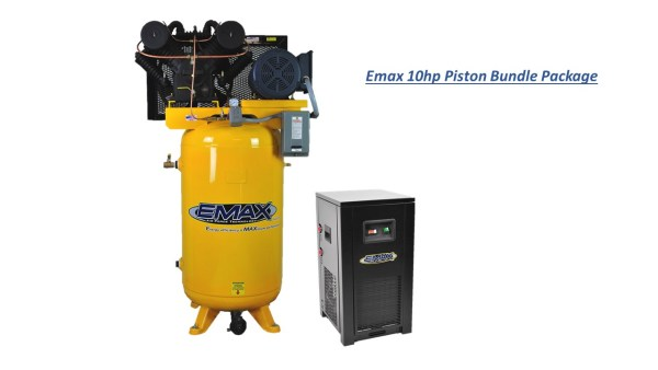 Emax 10hp 80 gal 2 stage 1 Phase Compressor with Air Dryer Bundle
