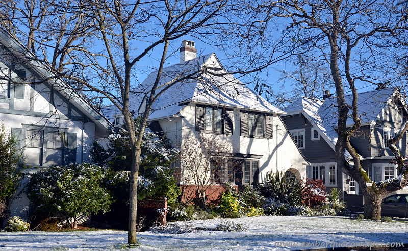 Casas na cidade de Victoria no Canadá e a rua está coberta de neve