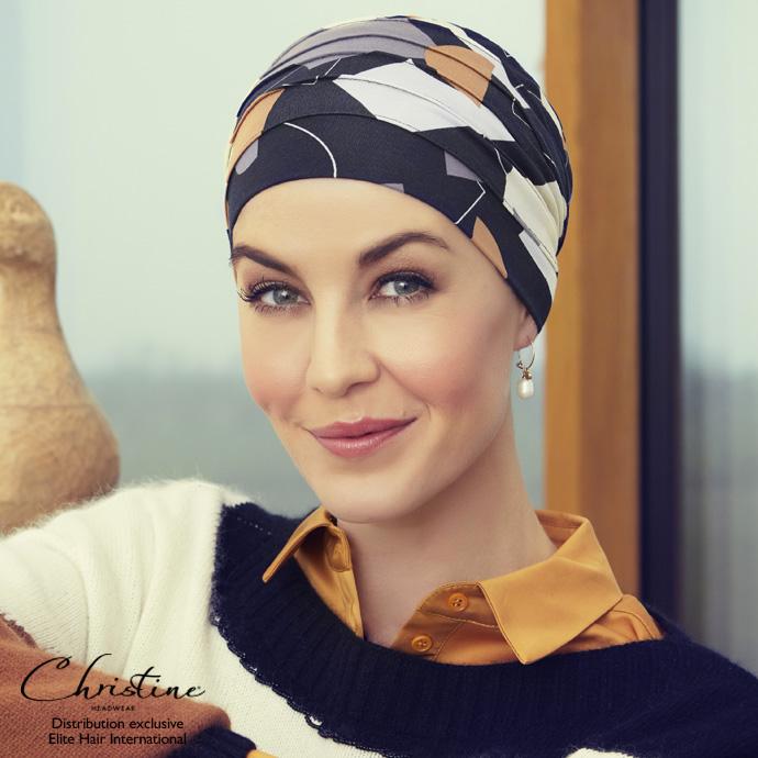 Turban noir à motif