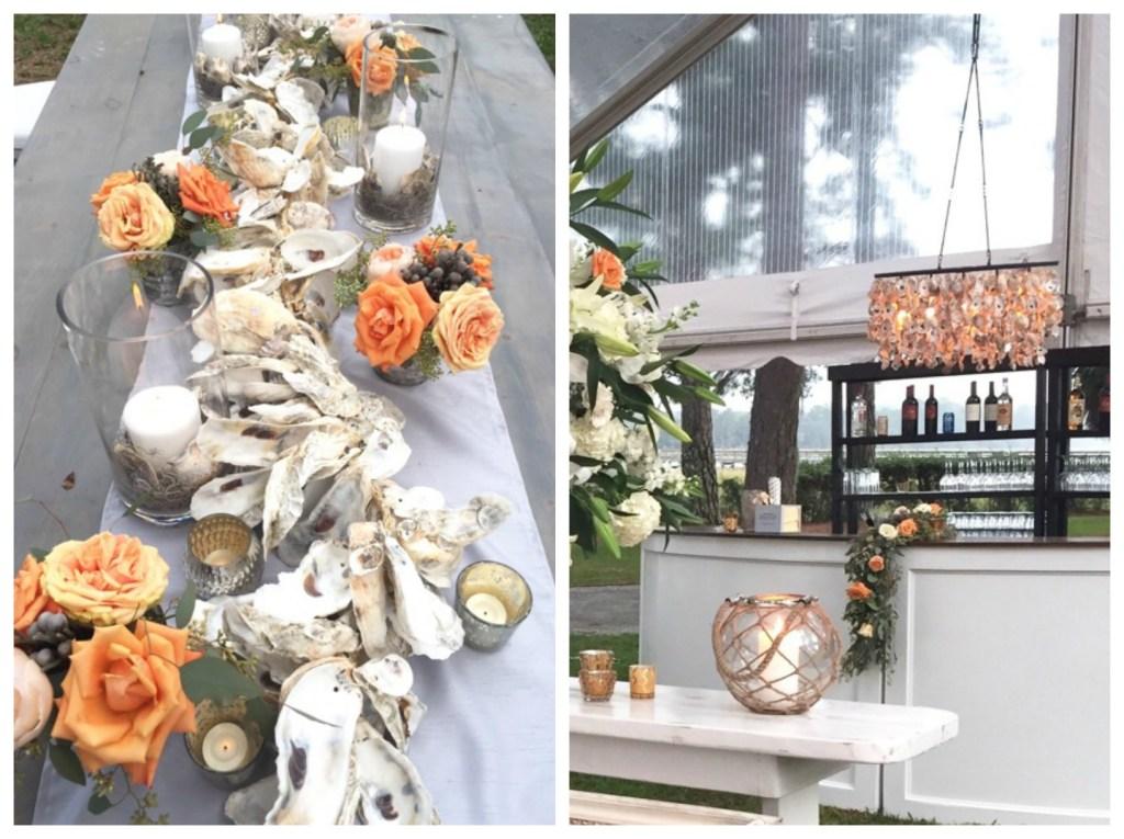 oyster shell wedding decor