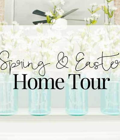 A home tour with simple and inexpensive Easter and Spring decor.