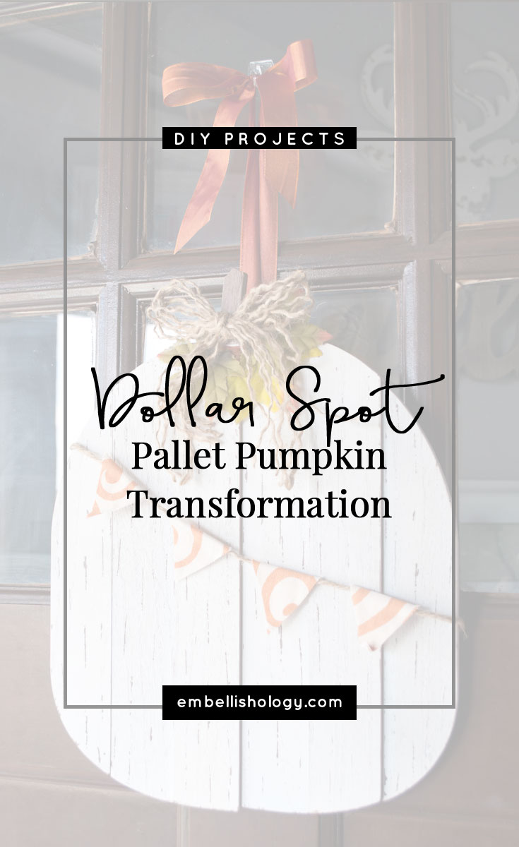 See how you can transform a plain dollar spot pallet pumpkin into a cute piece of wall decor. Does it get any better than fall decor on the cheap?!