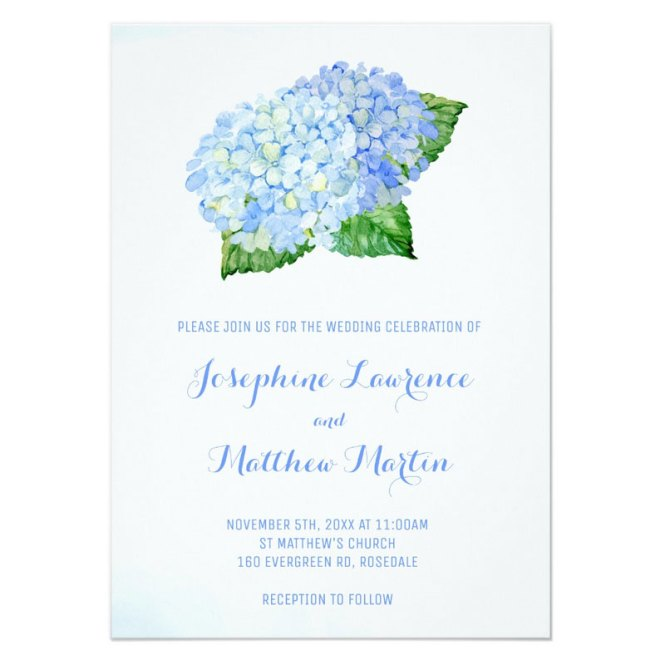 Blue Hydrangea Wedding Invitations With Flowers Leaves