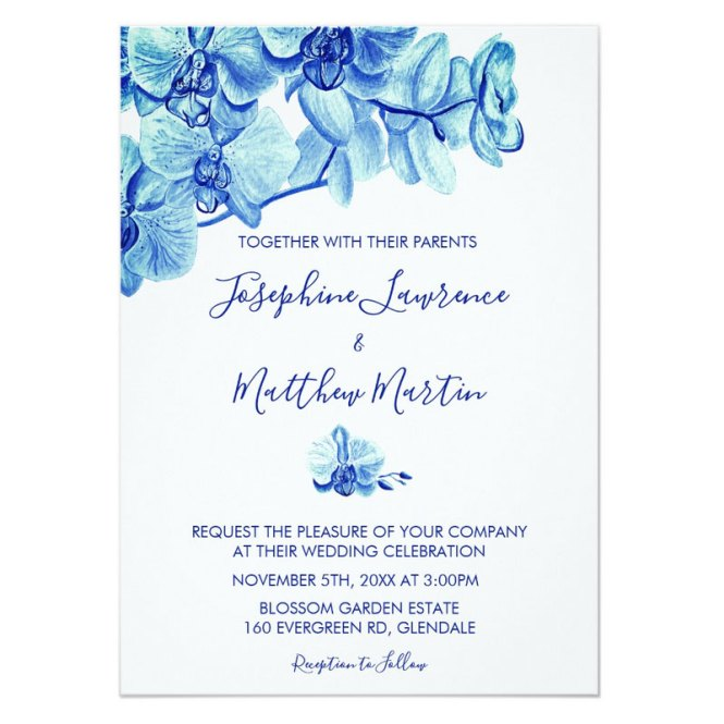 Blue Orchid Wedding Invitations With Watercolor Flowers