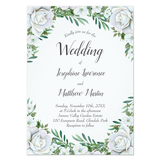 Flower Borders Wedding Invitations With Roses Greenery Foliage