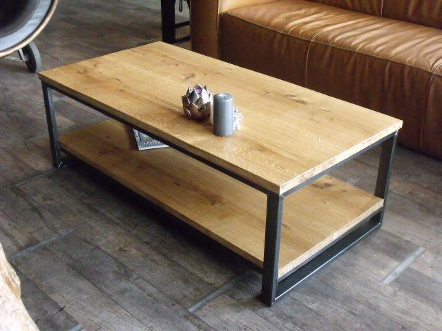 table basse acier bois pas cher emberizaone fr
