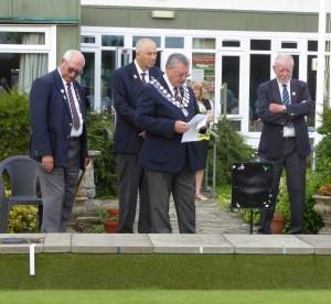 President Graham Dawber reads the citation accompanied by Vice-President Derek Harvey & Jnr. Vice-President Roger Lanham