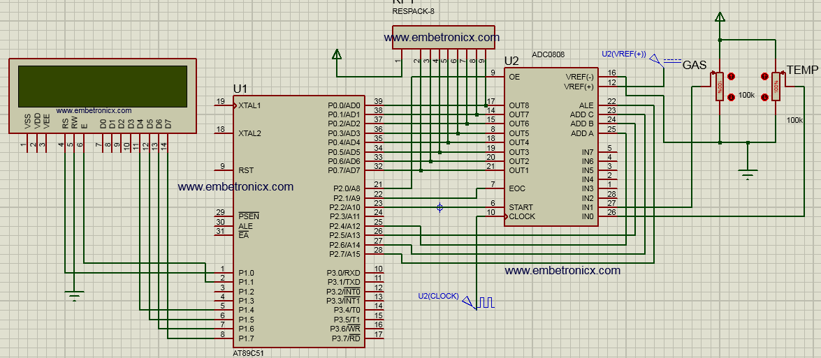 adc0808 interfacing with 8051  circuit diagram