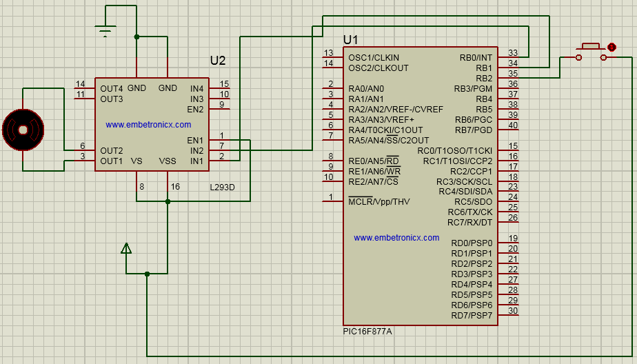 dc motor interfacing with pic16f877a  circuit diagram