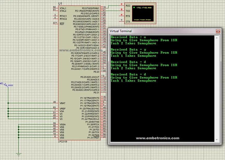 FreeRTOS Counting Semaphore Tutorial in LPC2148 | EmbeTronicX