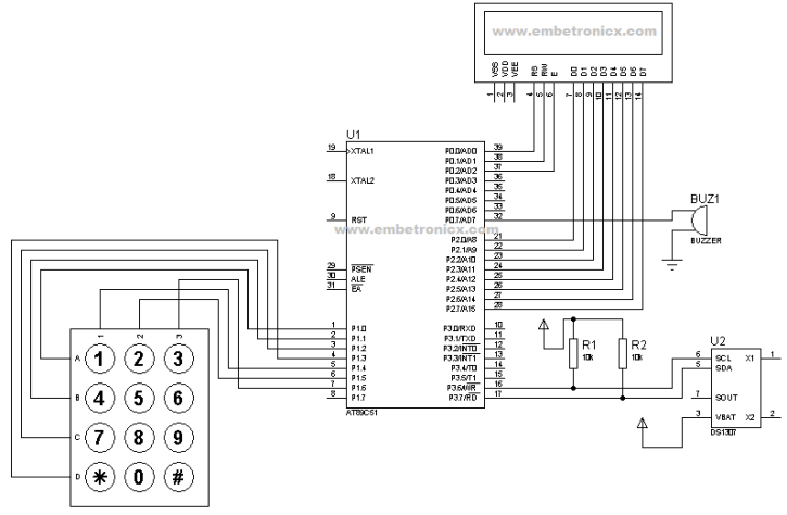 rtc-interfacing-with-8051-circuit-diagram 8051 - RTC Interfacing (Alarm Clock)