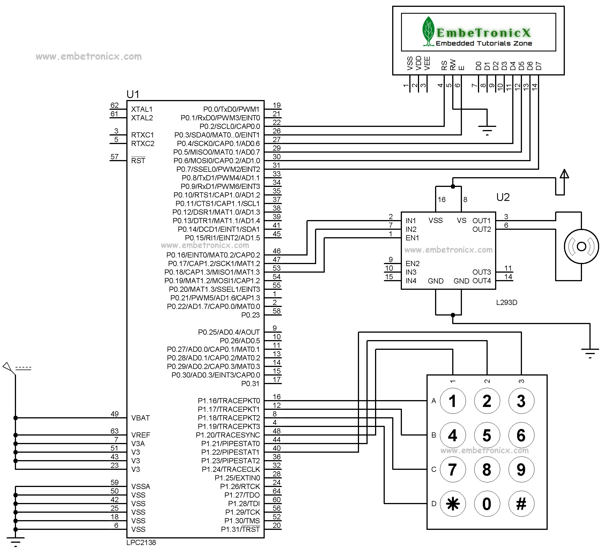 Password Based Door Open System Using Lpc2148 Embetronicx
