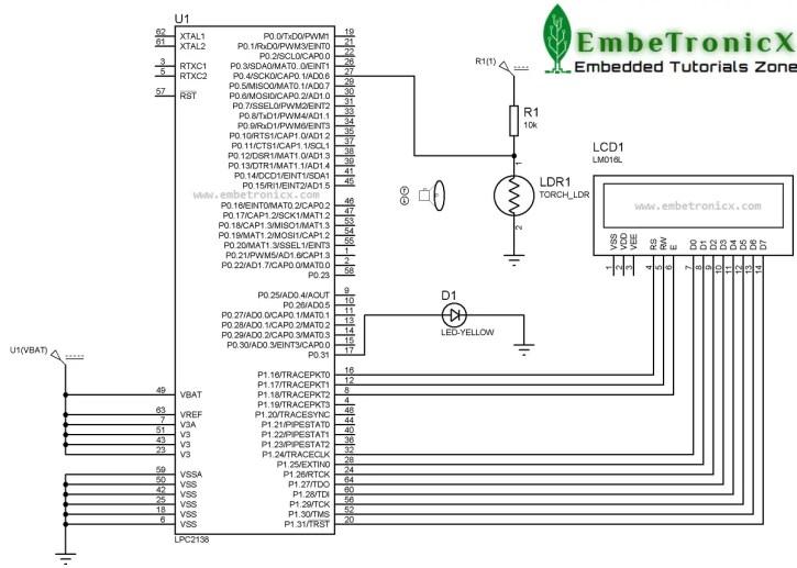 ldr-circuit-diagram LDR Sensor Interfacing with LPC2148