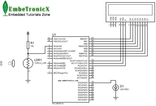 ldr sensor interfacing with pic16f877a