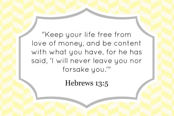 Hebrews 13:5 decorative verse card