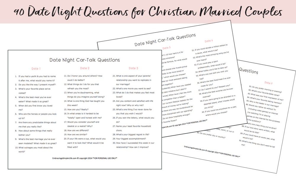 Newlywed game questions for dating couples christian