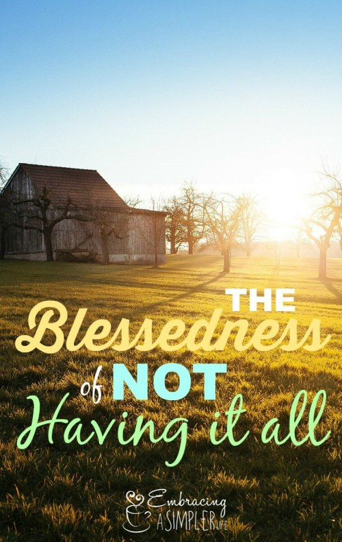 the blessedness of not having it all