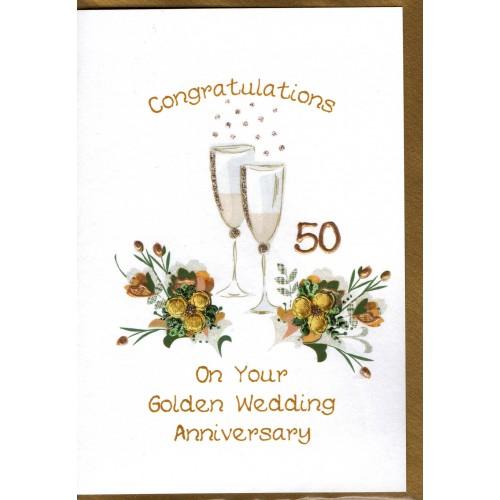 Golden Wedding Anniversary Card Champagne Flutes WWWE05