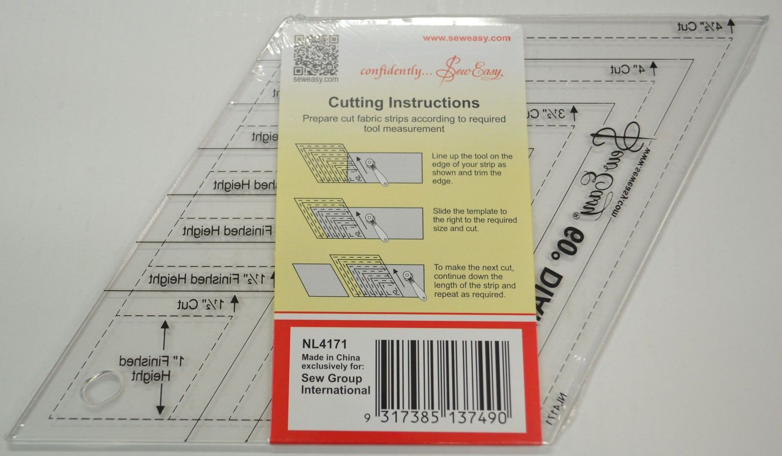 Quilt Diamond Ruler Multi Size 60 Degree Template 1 2