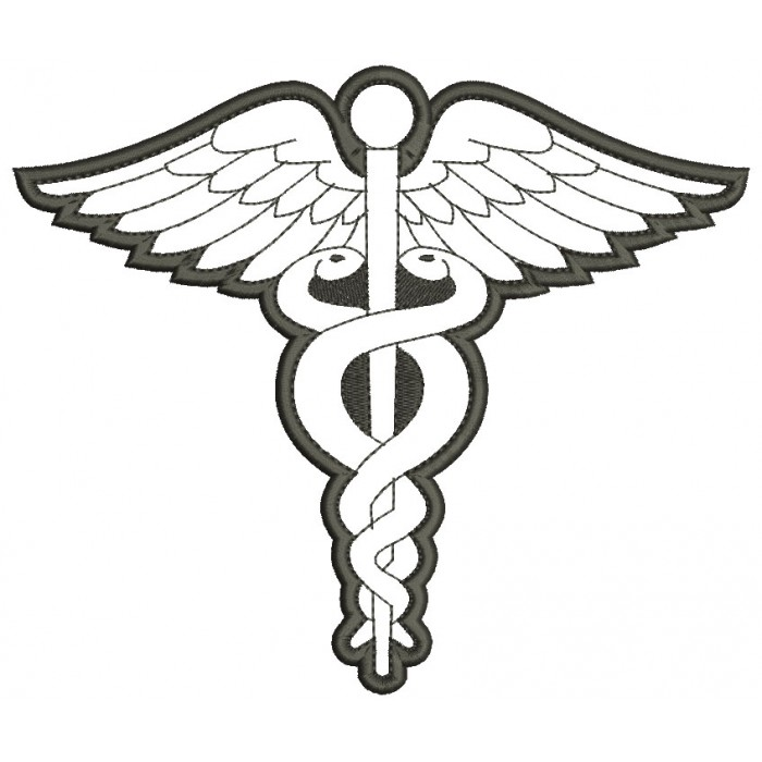 Medical Caduceus Staff of Hermes Applique Machine
