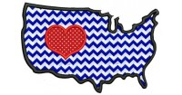 American Flag with Heart USA Patriotic heart Applique ...
