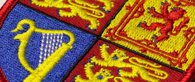 Details of Royal Coat of Arms embroidery. Embroidered at ARDA
