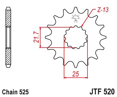 JT ETURATAS 17-hampainen, JTF520.17 » Ketjuhammasrattaat