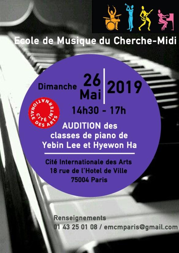 L'EMCM fera l'audition de piano des élèves de Yebin et Hyewon ce dimanche à la Cité Internationale des Arts de 14h à 17h. Entrée libre.