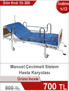 Manuel çevirmeli sistem hasta karyolası