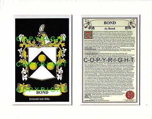 Heraldic Mounts  Bond Family Crest and History