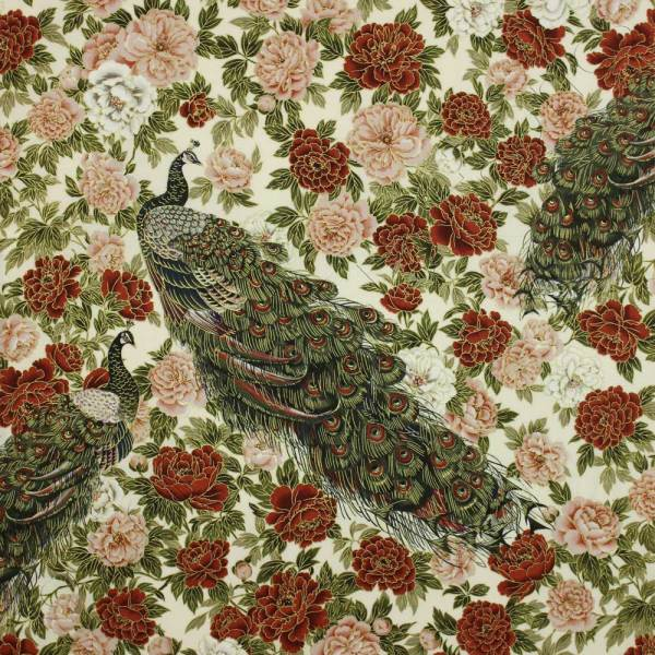 Robert Kaufman Oriental Traditions Peacock Floral Dawn