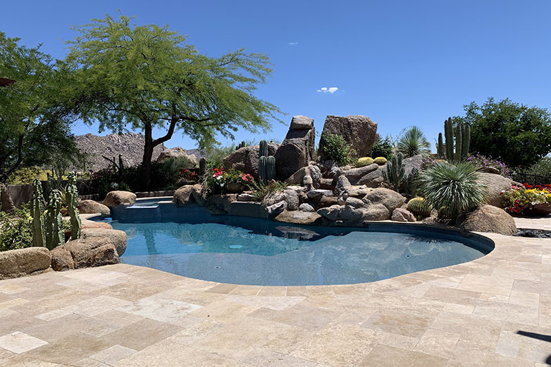 custom pool design with rock feature and cacti plants
