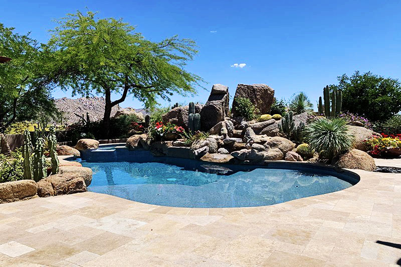 backyard pool with rocks design riggs