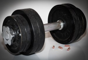 dumbbell and supplements
