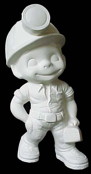 Smiley Miner  Emeraldz Fine Ceramic Bisque